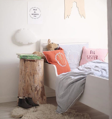 """Wild & Wonderful"" print by One Tiny Tribe. Great for woodland themed nursery decor and kids rooms. Scandinavian woodland theme in this photo. Buy print at www.onetinytribe.com"