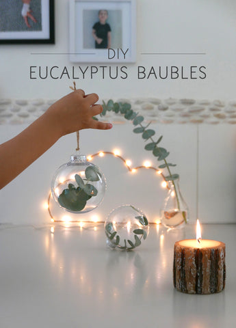 DIY Christmas bauble - minimal nordic style filled with eucalyptus
