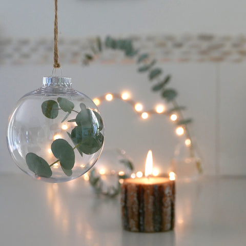 DIY Christmas bauble - simple and stylish nordic minimal design with eucalyptus