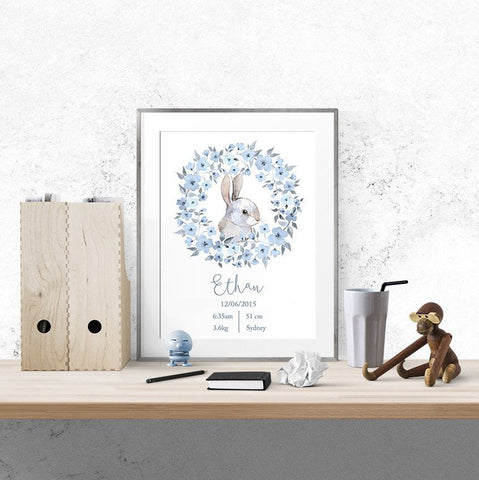 """Personalised birth print - blue bunny""  by One Tiny Tribe - great for a boy nursery - available at www.onetinytribe.com"