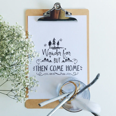 """Wander far"" print by One Tiny Tribe - great for a boy's room or nursery - available at www.onetinytribe.com"
