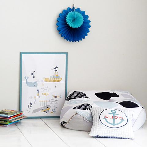 """Whale tale"" print by One Tiny Tribe - great for a marine themed boy's room or nursery - available at www.onetinytribe.com"