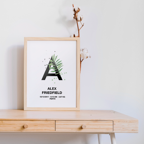 Personalised Tropical Letter Birth Printable
