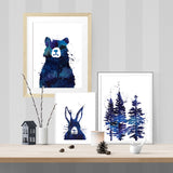 Messy forest lair for bear and hare - Print - One Tiny Tribe  - 2