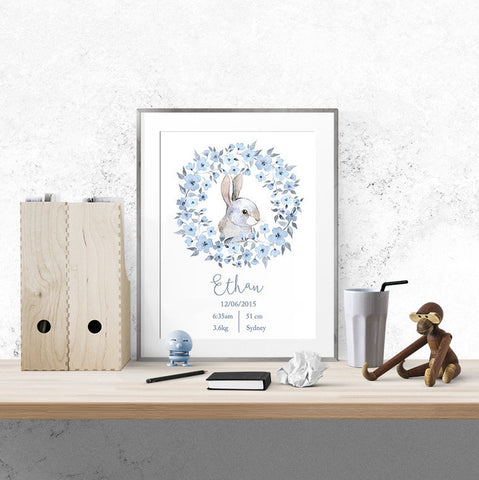 Personalised Baby Name - Blue Bunny - Print - One Tiny Tribe  - 1