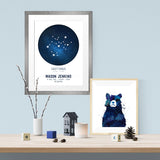 Constellations Birth Print - Personalised Zodiac - Print - One Tiny Tribe  - 2