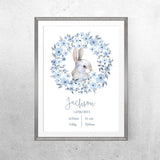 Personalised Baby Name - Blue Bunny - Print - One Tiny Tribe  - 2