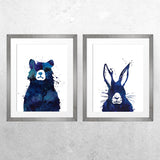 Bear & Hare PAIR - Print - One Tiny Tribe  - 1