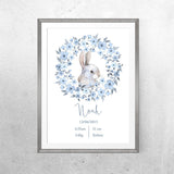 Personalised Baby Name - Blue Bunny - Print - One Tiny Tribe  - 3