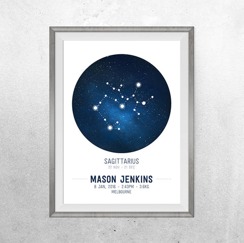 Constellations Birth Print - Personalised Zodiac - Print - One Tiny Tribe  - 1