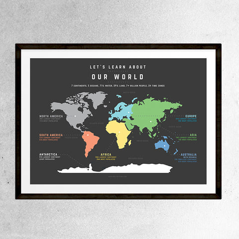 Educational World Map poster by One Tiny Tribe. Top quality, stylish print that inspires learning in little people. www.onetinytribe.com