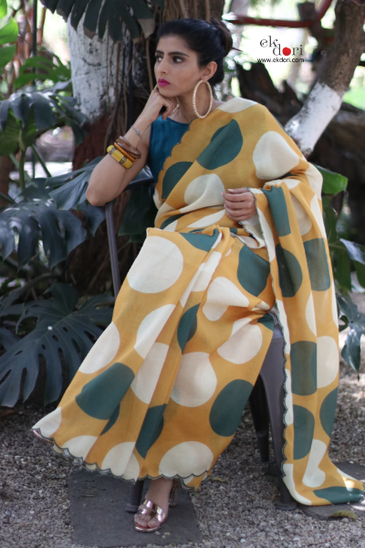 Buy Cotton Linen Sari : Gold Spot Sari : Retro Collection
