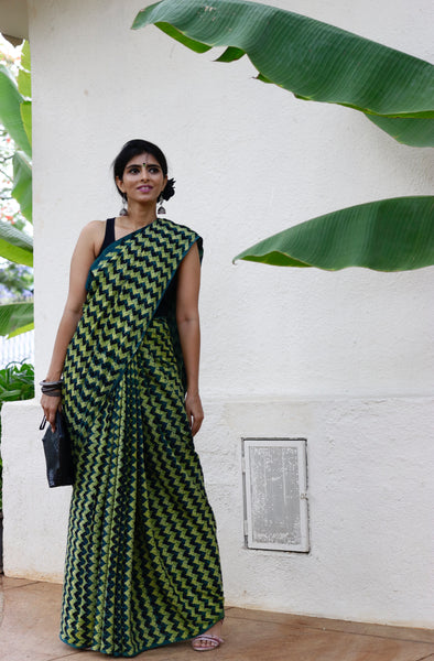 Cotton Saree Hand Printed Using Natural Dyes With Rich Textures : Maya Saree