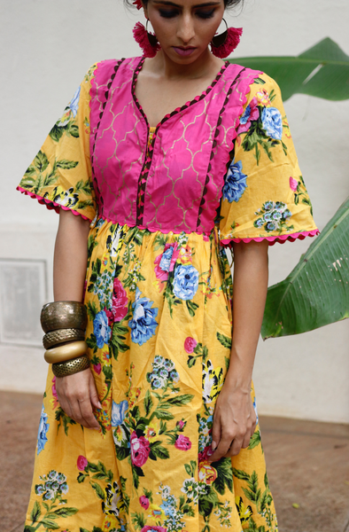 Cotton Dress : Banjaaran Dress In Yellow