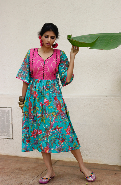Cotton Dress : Banjaaran Dress In Teal
