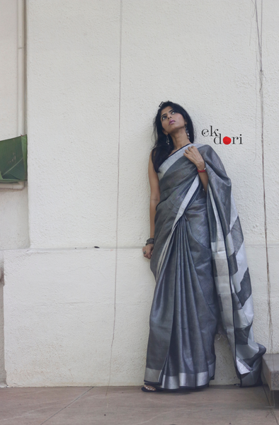 Buy Tissue Linen Black Silver Metallic Sari : Moonlit Night Tissue Linen Saree