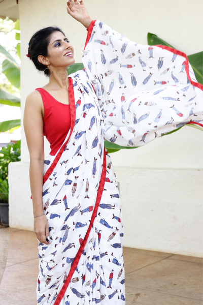 Cotton Printed Saree With Red Edges : A Carefree Stroll Cotton Saree :
