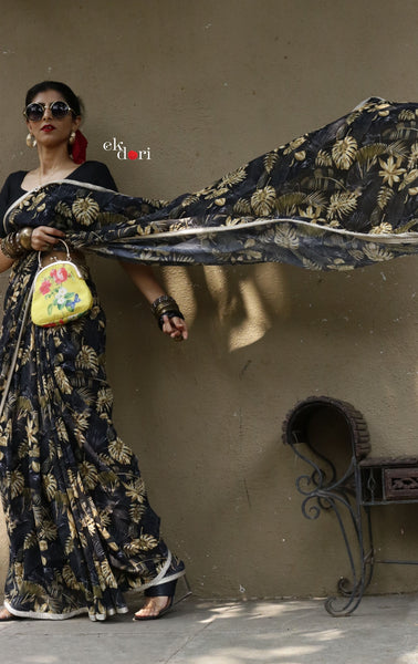 'Gold Leaf' Black Leaf Print Georgette Saree : Buy Statement Summer Printed Sarees Online