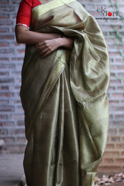 Buy Tissue Linen Bronze Sari : Muddy Bronze Tissue Linen Saree