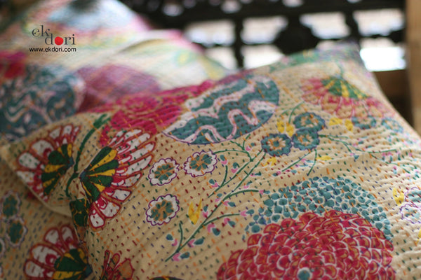 Kantha Cushion Covers (Set Of 2) : Beige Beauty Cushion Covers