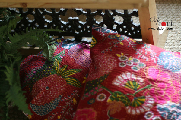 Kantha Cushion Covers (Set Of 2) : Red Riding Hood Cushion Covers