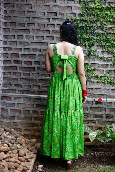 Festive Dresses : Backless Bandhani Dress : Sutli Bomb Dress