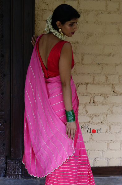 Buy Gota Work Saree Online : 'Baahar' Pink Festive Gota Saree With Pink Blouse Piece