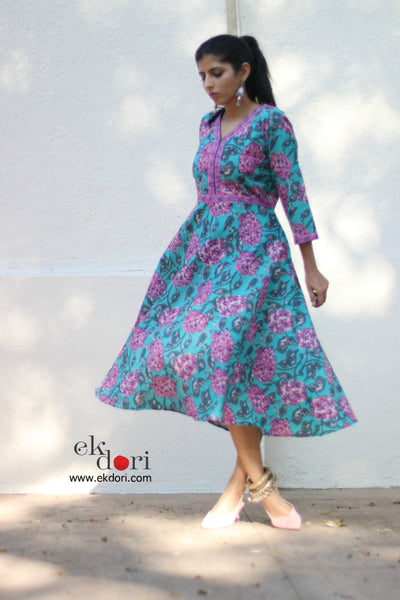 Enchanted Flower Garden Dress : Cotton Fit & Flare Dress