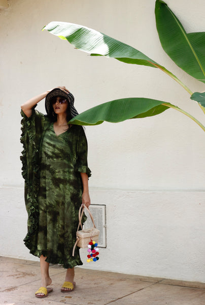 Green Sea Kaftan Dress : Green Long Boho Kaftan Dress : Vacay Dress