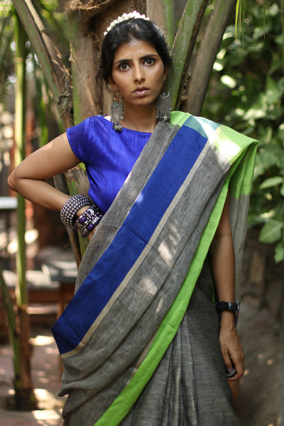 Buy Grey Linen Saree : Moonlit Night Grey Pure Linen Saree