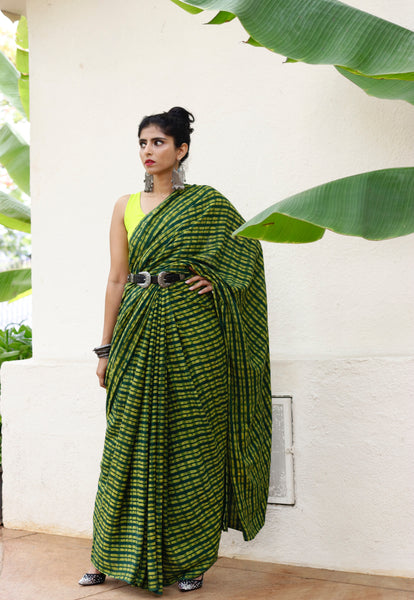 Cotton Saree Hand Printed Using Natural Dyes With Rich Textures : Lila Saree