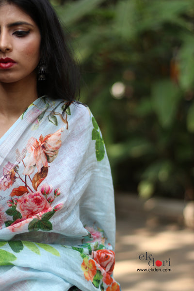 Linen Saree : Printed linen Spring Is Here Sari