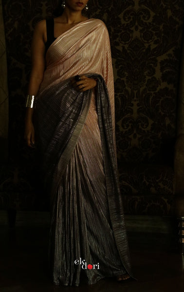 Pink Sky Lining Micro Pleated Designer Saree : Metallic Cocktail Saree