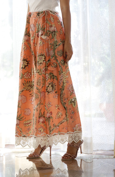 Buy Printed Saree Petticoat : Peach Garden