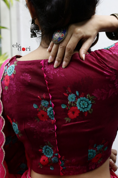Rani Pink Saree Blouse : Buy Cotton Saree Blouse