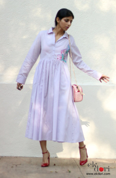 Lavender Dream Cotton Dress With Appliqué