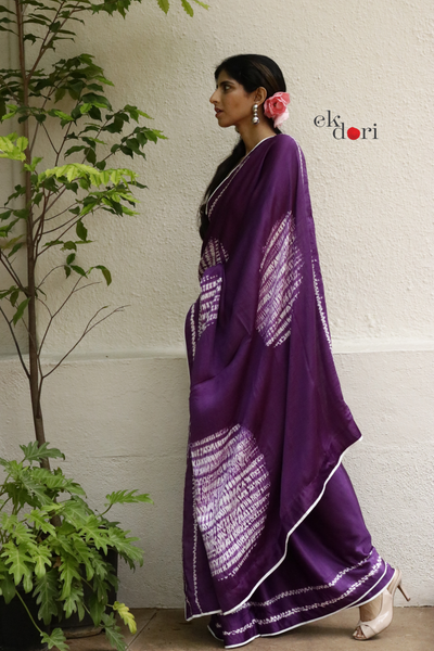 Purple Haze Modern Shibori Saree : Shibori Modal Silk Saree
