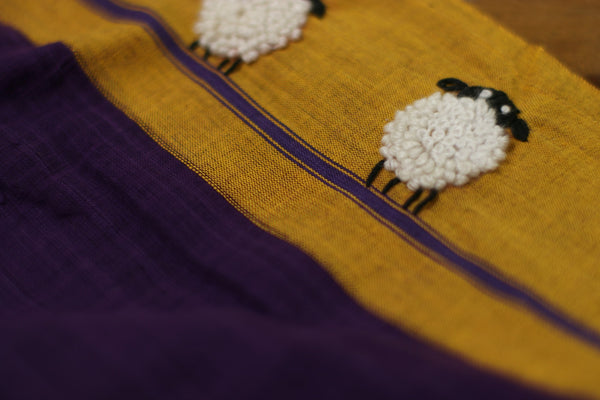 Buy Handloom Cotton Saree : Grazing In The Drak Embroidered Cotton Saree