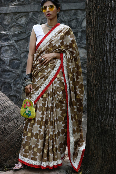 Cotton Saree Hand Printed Using Natural Dyes With Rich Textures : Taara Saree