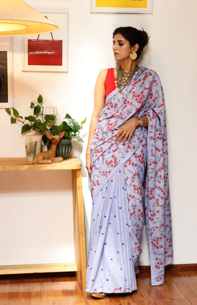 Statement Cotton Saree With Designer Details : Stars & Flowers Cotton Saree