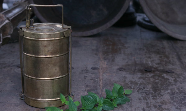 Vintage Brass Home Decor : Vintage Brass Indian Tiffin Carrier