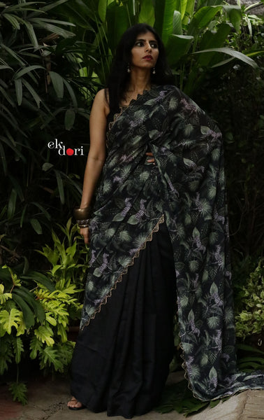 'Zen Zebra' Tropical Print Satin Statement Saree : Buy Cocktail Sarees Online