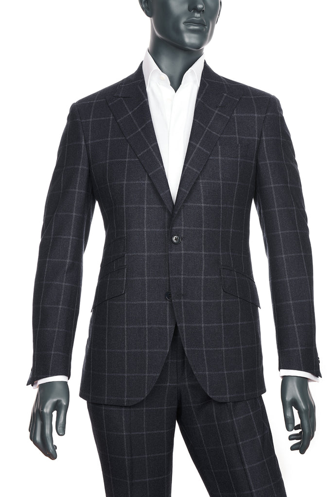 Men's Charcoal Windowpane Suit | Coppley