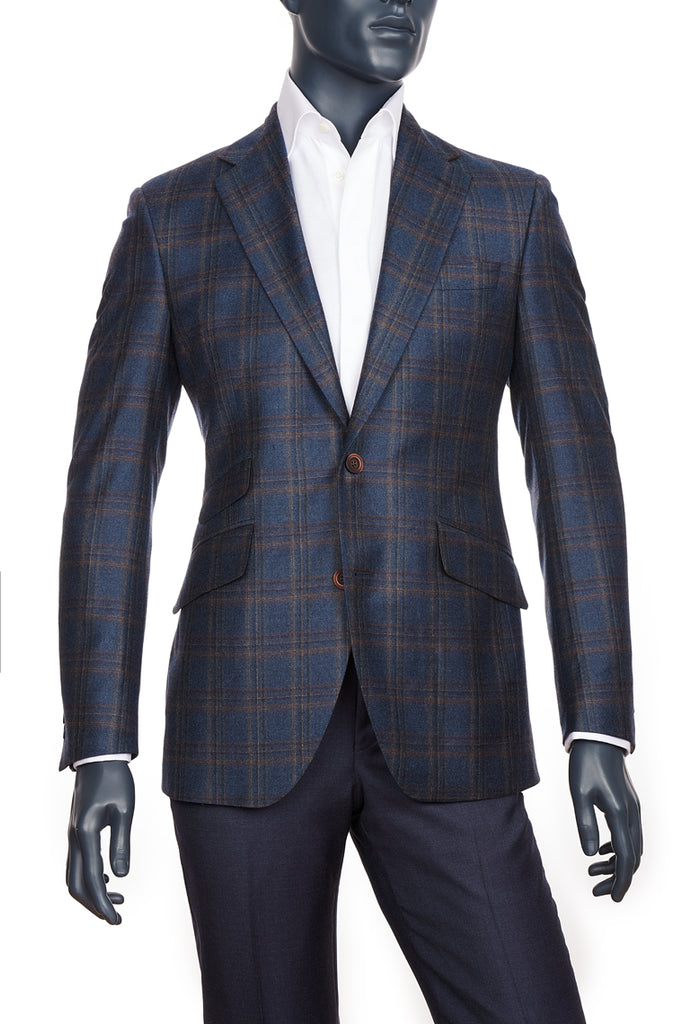 Haberdasher & Co.|  Men's Dark Blue with Brown Plaid Sport Coat | Coppley | Vancouver, BC