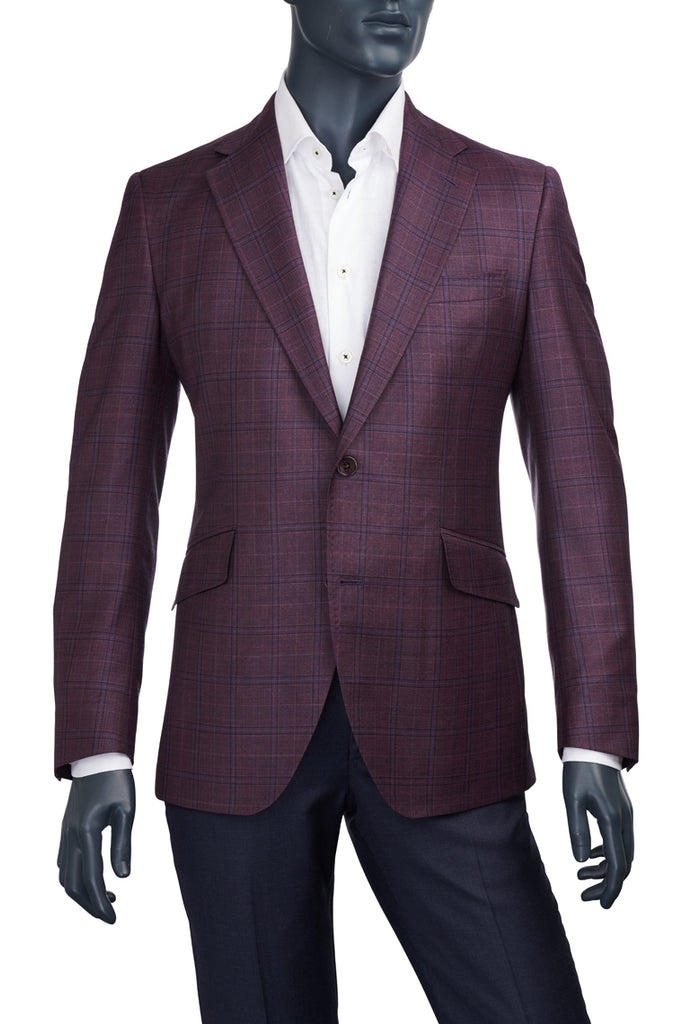 Men's Coppley Burgundy w. Blue Plaid Sport Coat