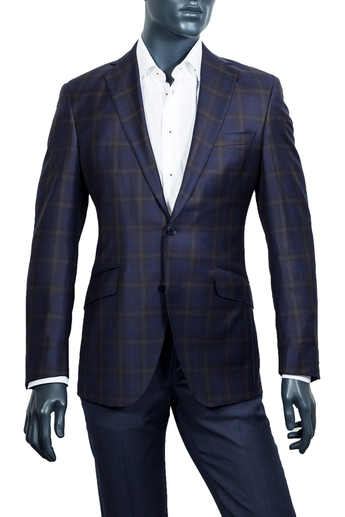 Men's Navy & Brown Plaid Sport Coat - Coppley