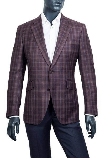 Men's Burgundy & Blue Plaid Sport Coat - Coppley