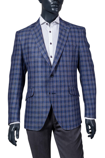 Blue w.Pink & White Plaid Sport Coat