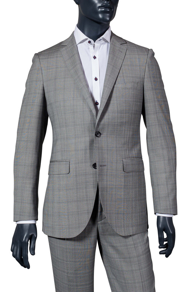 Men's Light Grey Plaid Suit - Paul Betenly