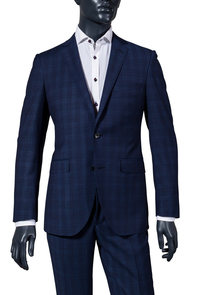 Men's navy plaid suit. Vancouver men's suits.